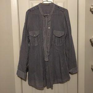 ZARA oversized white and blue stripe shirt